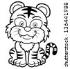 Vector illustration of Tiger cartoon - Coloring book - stock photo