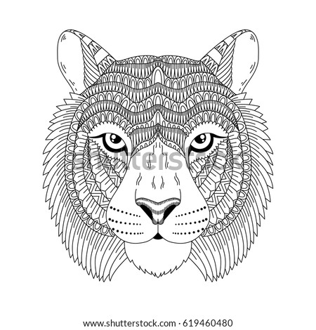 Vector Illustration Of Tiger Chinese Horoscope Sign Card Coloring Page Tattoo