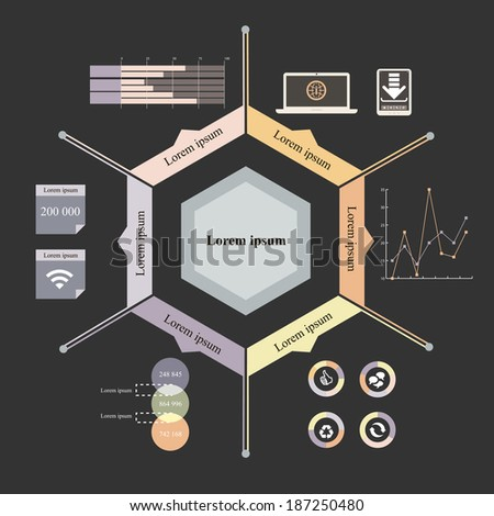Vector illustration of timeline info graphics with 7 icons, 1 world map and 3 different kinds of diagram. Altogether file contains 6 groups of  elements, which can be ungrouped, combined or recolored - stock vector