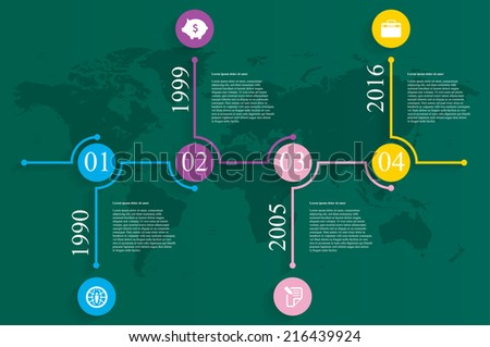 Vector illustration of timeline infographics template with world map - stock vector
