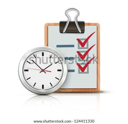Vector illustration of timing concept with classic office clock and check list on clipboard isolated on white background - stock vector