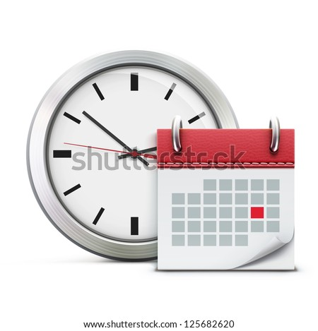 Vector illustration of timing concept with classic office clock and detailed calendar icon - stock vector