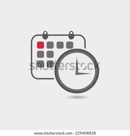 Vector illustration of timing  with classic office clock and detailed calendar icon - stock vector