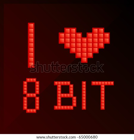 "Vector illustration of title ""I love 8 bit"" in pixel art style"
