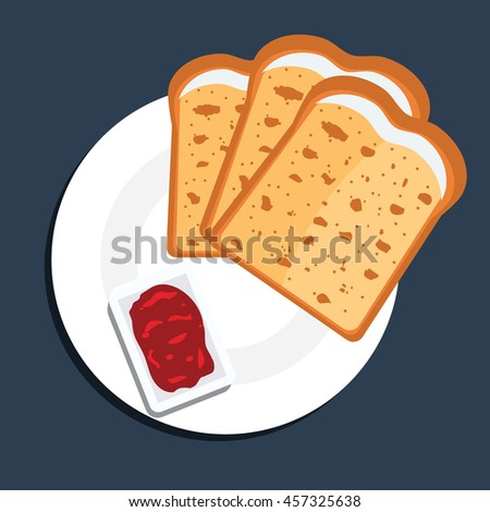 Vector illustration of toast bread slices on a plate with jam. Toast bread slices with top view and flat color style. - stock vector