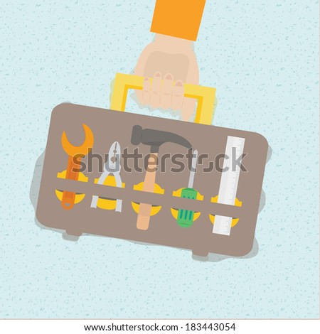 Vector illustration of tool box set in flat design. Background and shadow can be removed  - stock vector