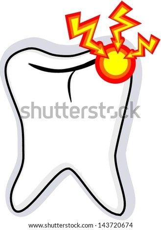 Vector illustration of Tooth with cavity - stock vector