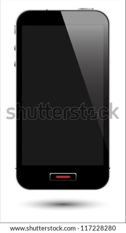 vector illustration of touch screen smartphone in eps10 format, to preserve the reflection effects.