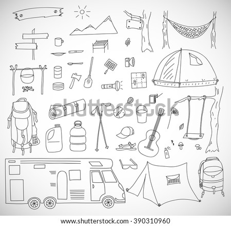 Vector illustration of tourism and camping elements. Hand drawn doodle. - stock vector