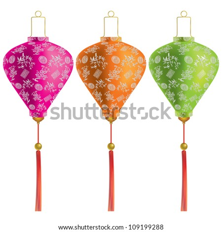 Vector illustration of Traditional Chinese lanterns isolated on a white background. - stock vector