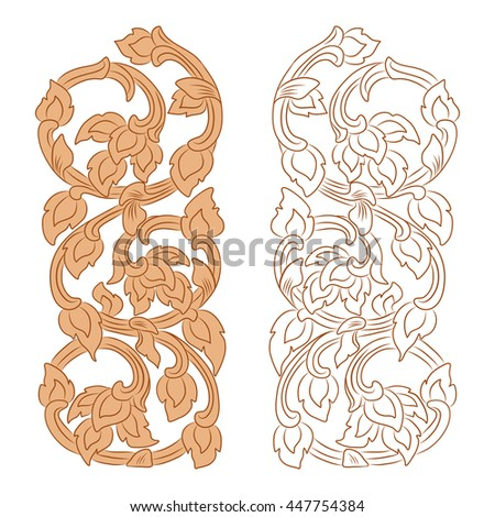 vector illustration of traditional golden Thai ornament. EPS
