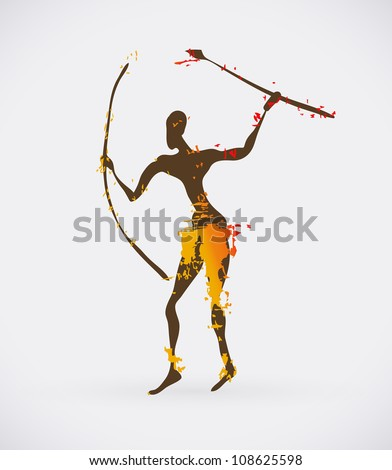Vector Illustration of Traditional Ritual Dance. Human Silhouette with Weapon Creative Design.