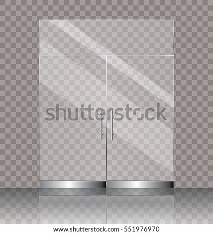 double white door texture. Vector Illustration Of Transparent Double Glass Door For Shop Or Commercial Building Entrance White Texture