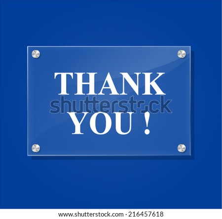 Vector illustration of transparent thank you sign on blue background - stock vector