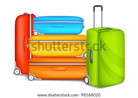 vector illustration of travel bag and luggage - stock vector