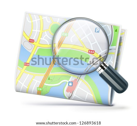 Vector illustration of travel concept with city street map and magnifying glass over it - stock vector