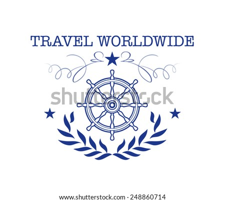 Vector illustration of travel vintage label for design. Steering wheel. Travel design.