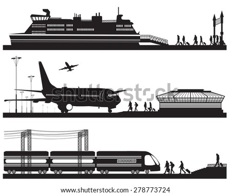 Vector illustration of travelers in airport terminal, train station and pier with cruise liner - stock vector