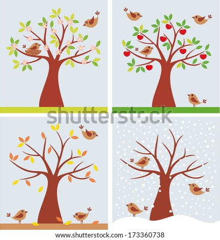 vector illustration of tree and cute birds in four seasons