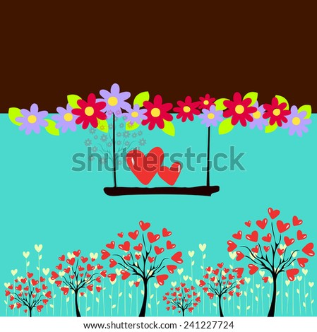 vector illustration of tree and two red heart - stock vector