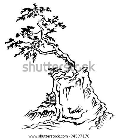 Vector illustration of tree in the mountains