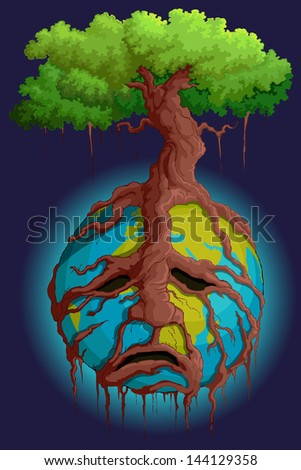 vector illustration of tree root holding Earth - stock vector
