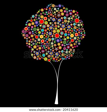 Vector illustration of tree shape made up a lot of  multicolored small flowers on the black background