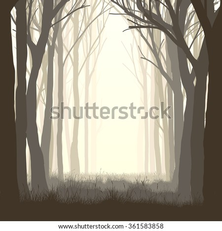 Vector illustration of trees with grass and meadow on edge of forest. - stock vector