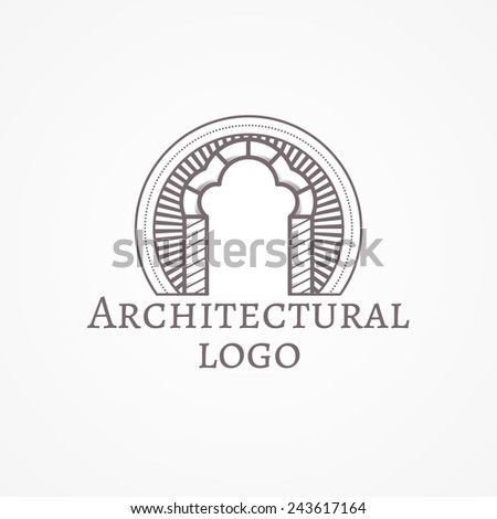 Vector illustration of trefoil arch icon with text. Design element with gray trefoil arch line style icon with sample text for some architecture business on white background. Logo, logotype - stock vector