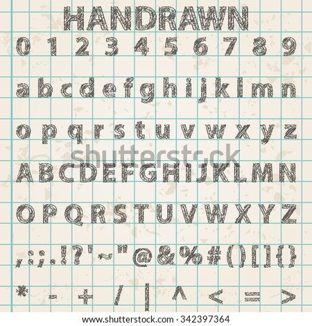 Vector illustration of trendy hand drawing font. Includes alphabet, numbers and symbols - stock vector