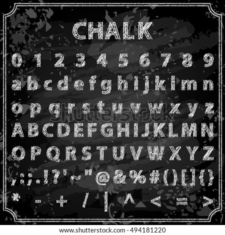 Vector illustration of trendy hand drawn chalk font. Includes alphabet, numbers and symbols