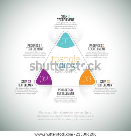 Vector illustration of triangle circle infographic elements. - stock vector