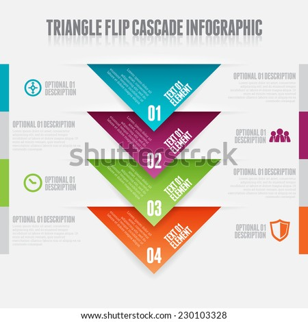 Vector illustration of triangle flip cascade infographic design elements. - stock vector