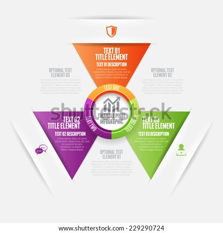 Vector illustration of triangle pivot infographic design element. - stock vector