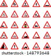 Vector illustration of triangle red and white road signs collection - stock vector