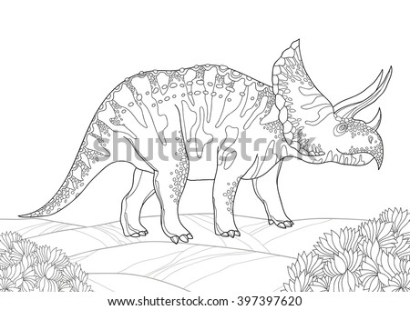 Vector illustration of Triceratops from family of large horned dinosaurs isolated on white background. Series of prehistoric dinosaurs. Fossil animals and reptiles in contour style. - stock vector