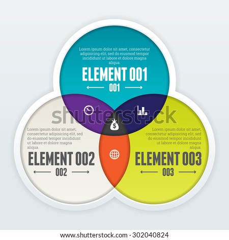 Vector illustration of triple intersect infographic design element. - stock vector