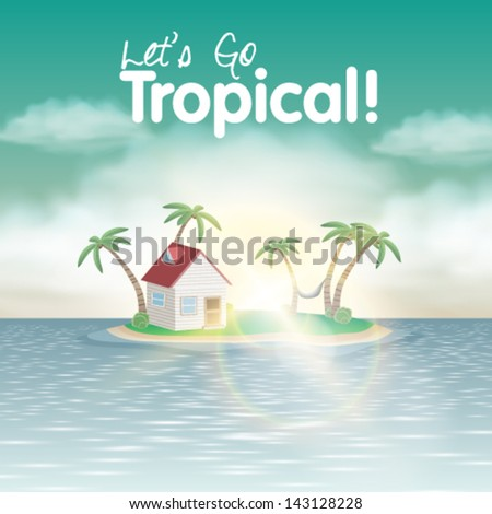 Vector illustration of tropical island with cute house with palm trees and hammock - stock vector