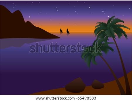 vector illustration of tropical palm beach near the ocean at sunset - stock vector