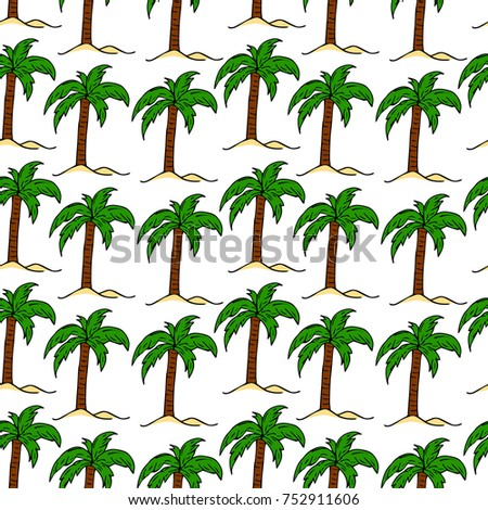 Vector Illustration Tropical Palm Tree Crown Stock Vector 752911606