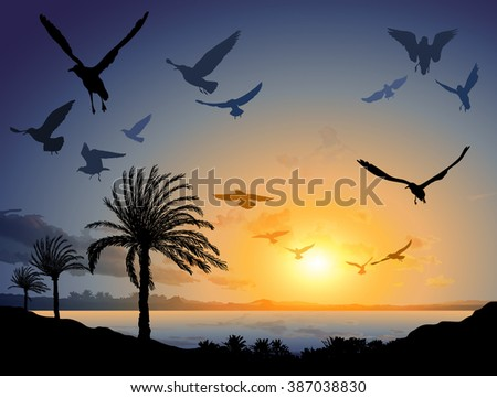 Vector illustration of Tropical sea landscape with flock of flying bird - stock vector