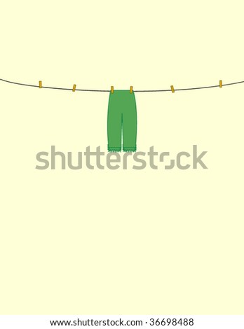 vector illustration of  trousers on the cord