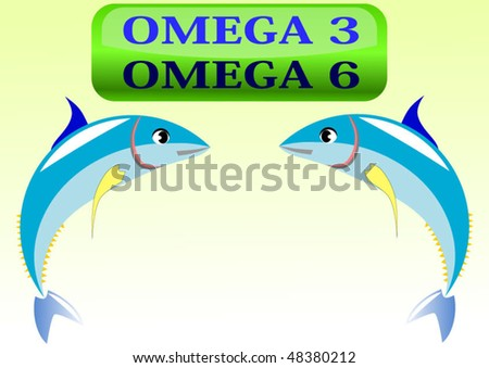 Vector illustration of tuna fish with omega 3 and omega 6 glassy button
