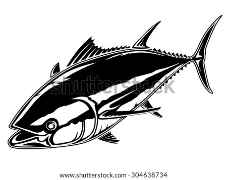 Vector illustration of tuna fishing. Vector illustration can be used for creating logo and emblem for fishing clubs, prints, web and other crafts.