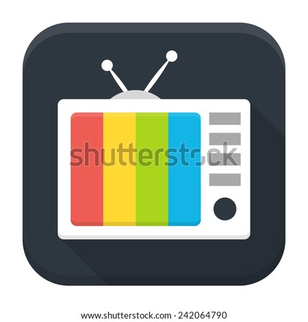 Vector illustration of TV show. Flat app square icon with long shadow. - stock vector