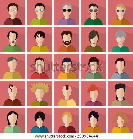 vector illustration of twenty-five different icons in the form of men - stock vector