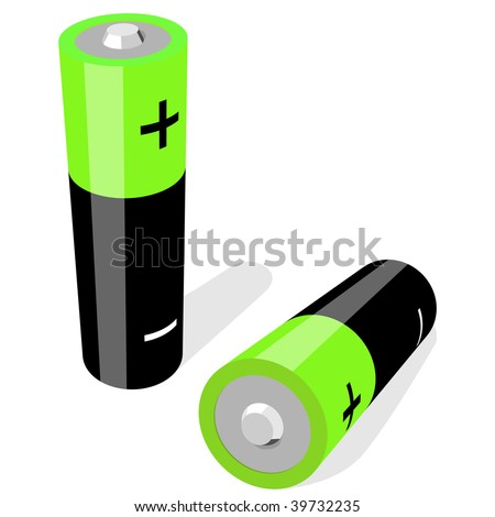 Vector illustration of two AA-size batteries isolated on white background. No gradients or effects . - stock vector