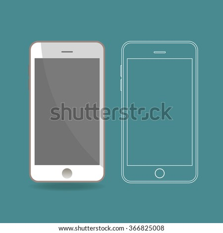 Vector illustration of two abstract smartphone. - stock vector