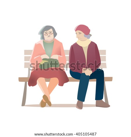 Vector illustration of two aged women sitting on the bench.