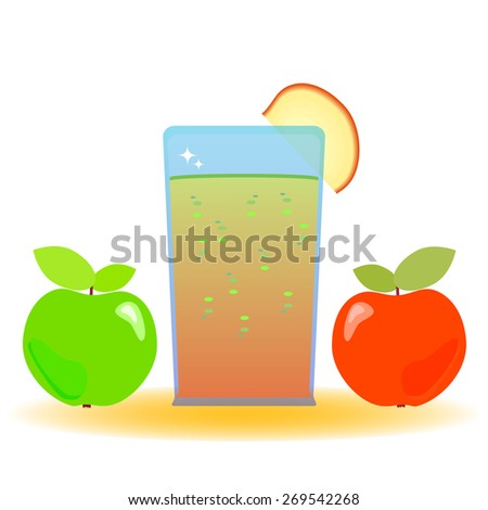 Vector illustration of two apples and a glass with apple juice decorated with a piece of apple. Healthy lifestyle concept. - stock vector
